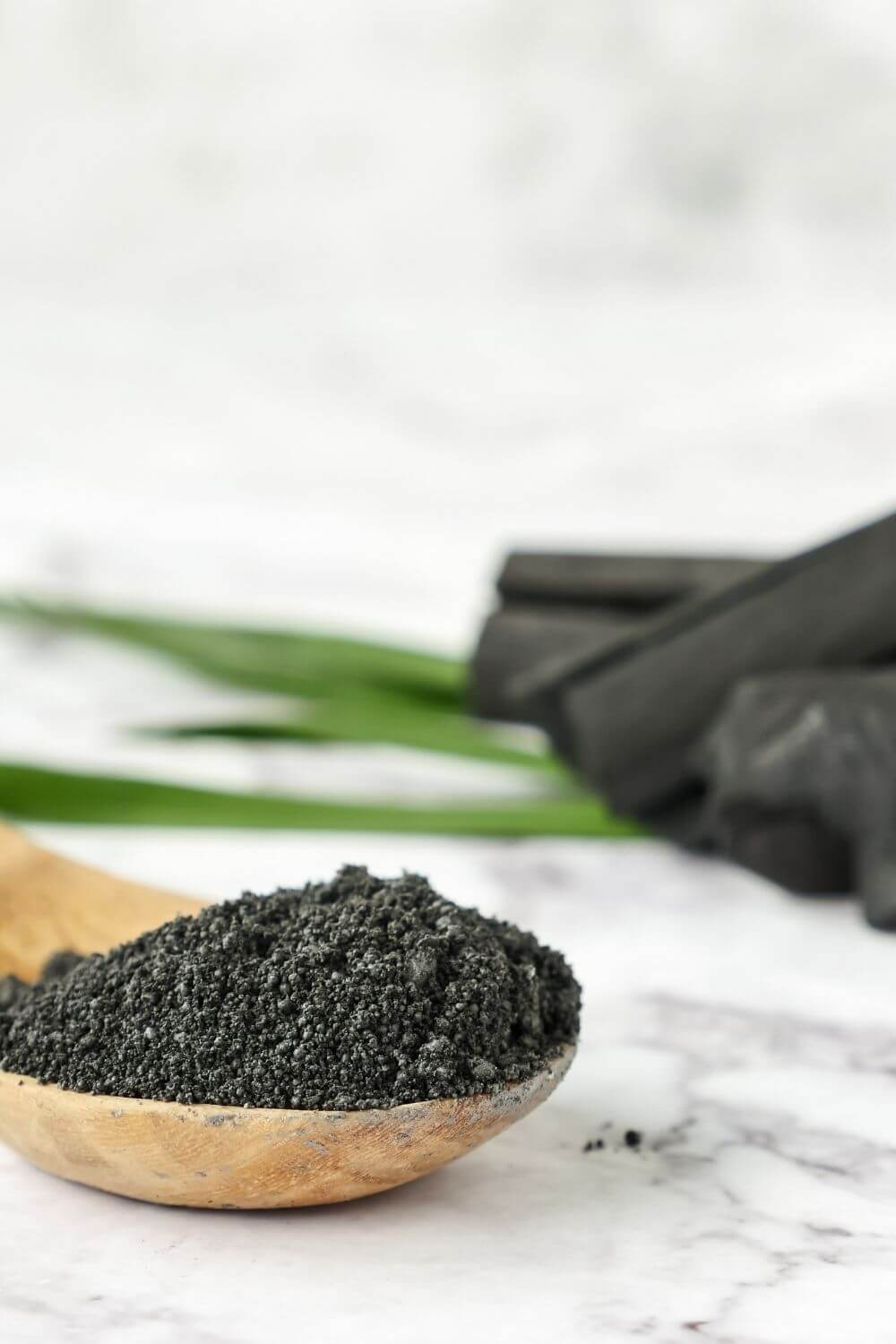 powdered activated charcoal in bamboo spoon